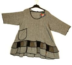 Ya Qu'a Funkiest Grey Mix Linen Ruffle Hem Tunic-Ya Qu'a, lagenlook fashion clothing