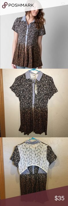 Gimmicks by BKE Floral Top NWT size XS NWT Gimmicks by BKE short sleeved floral lace back top. The back has lace and is open in one spot. Button down front. New with tags size extra small (xs). First picture is from buckle.com. Check out my closet for other name brand items! Buckle Tops Blouses