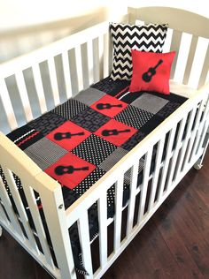 SALE Guitar Crib Quilt and FREE mini red guitar by AlphabetMonkey, $120.00