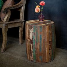 Reclaimed Wood Weathered Tanki Table - eclectic - side tables and accent tables - Overstock