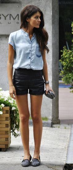 The Chambray Shirt Gets A Fresh Makeover For Spring. Leather high waist shorts that are chic and not sleazy. Like the black studded silver loafers too!
