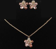 14k Gold Filled Austrian Crystal Champagne Necklace and Earring Set