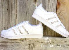 new concept 6f46f 5d4e2 Adidas Originals Shoes- Adidas Superstars - Custom Bling White Shoes -  Xirius Rose Cut Swarovski - Women