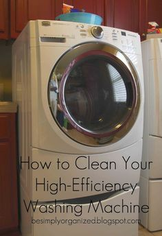 How to clean your HE washing machine: so I tried this and my washer is sparkling clean. I took the many steps and kinda personalized it. First, I did 2 cups of vinegar and ran the cleaning cycle. Then I used Clorox cleaning spray and wiped down the lid, rim and around the rubber seal. I sprinkled 1 cup of baking soda and ran it through the cleaning cycle again.