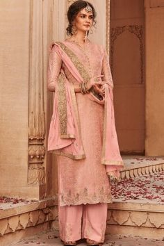 Order this Baby Pink color beautiful Palazzo Suits online which can be customized up to 58 Inches chest size and the style of this dress is Festival Wear,Party Wear which needs First Wash Dry Clean Only for wash care The dress is made Banarsi Jacquard fab Pakistani Suits, Pakistani Dresses, Indian Dresses, Indian Outfits, Punjabi Suits, Anarkali Suits, Eid Dresses, Churidar Suits, Patiala