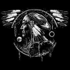 Native-American-Indian-Chief-Hawk-Dream-Catcher-Spirit-Animal-T-Shirt-Tee