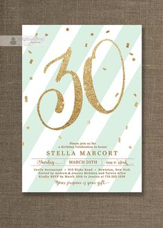 Mint & Gold Birthday Party Invitation Stripes by digibuddhaPaperie, $20.00
