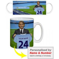 Man City Personalised Manager's Mug  Sign for Manchester City & Become the Next City of Manchester Stadium Superstar.    Your name and number is merged onto the shirt held by Roberto Mancini as you sign for Manchester City. Displayed on a quality, durable mug, this superb full-colour design is guaranteed to make you the envy of the office. City Of Manchester Stadium, Gifts For Boys, Superstar, Envy, Football, Number, Colour, Design, Boy Gifts