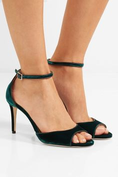 Heel measures approximately 85mm/ 3.5 inches Emerald velvet Buckle-fastening ankle strap Made in Italy