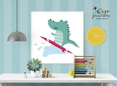 Printable Nursery Wall Art Turquoise Pink Crocodile Alligator