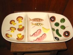 1959 Los Angeles Pottery 3 Divided Serving Tray/Platter