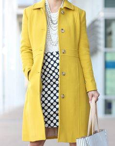 StylishPetite.com | J.Crew Lady Day Coat in Warm Chartreuse and Ann Taylor Stripe Signature Tote
