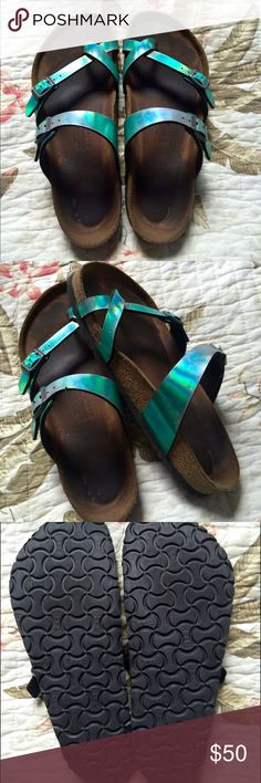 MAYARI BIRKENSTOCKS! Rare Blue/Green Metallic colored Birkenstocks! They have been worn, but the soles look just like new (as shown in pictures) and have tons of life left in them. Super comfy, you'll love them! Birkenstock Shoes