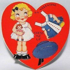 J1282 30s Girl & Doll -Paper Doll-Vintage Diecut Valentine Card (02/13/2014)