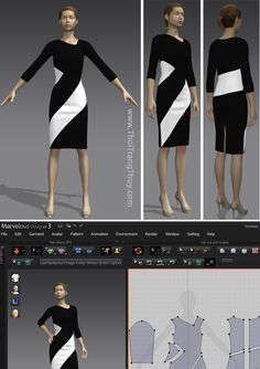Mẫu váy bút chì cut-out đen trắng V72 tại Hải Phòng Virtual Fashion, 3d Fashion, Fashion Design, Clothing Patterns, Dress Patterns, Pattern Design, Free Pattern, Zbrush Tutorial, Formal Wear
