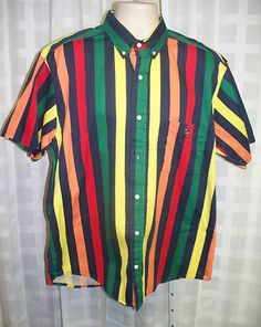 DUCK HEAD SHORT SLEEVE STRIPED COLLARED CASUAL MEN'S SHIRT SZ L FATHERS DAY