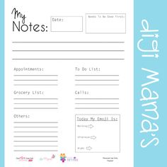 Free My Notes Daily Planner Printable