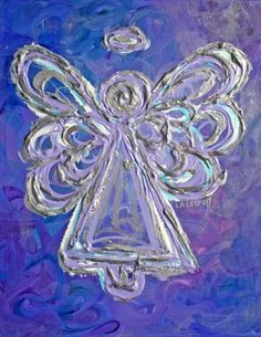 Purple Angel - This is the lavender, silver, and purple angel painting from a series of seven angel paintings on different sized canvases. Angels in the series include white, yellow, green, blue, purple, red, and orange angels.