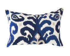 dark blue ikat pillow