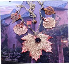 Mother Nature Leaf Necklace Real Leaves in Autumn by WoodSmith