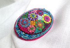 Easter Gift. DodgerBlue Oval Brooch. Spring Firework. Colorful Felt Brooch.  Hand Embroidery. Hand Application. French knot. by SvitLoShop on Etsy https://www.etsy.com/listing/270591322/easter-gift-dodgerblue-oval-brooch