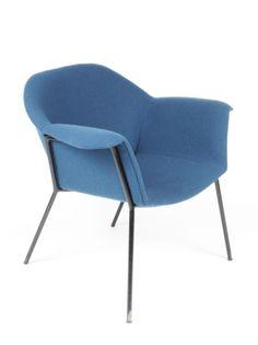 Claude Vassal; Enameled Metal Frame Lounge Chair, c1950.