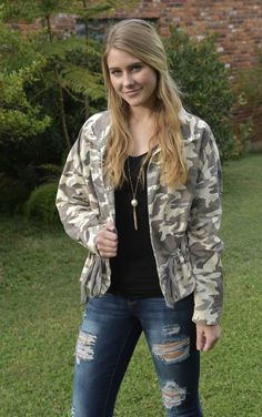 High neck, ruffled hem camo jacket is the cutest addition you need in your closet. Pair with a cute t-shirt and jeans and booties for a casual look or with a dress and heels for a night out on the town! Camouflage Jacket, Camo Jacket, Military Jacket, Bomber Jacket, Girls Boutique, Cute Tshirts, T Shirt And Jeans, Dress And Heels, Casual Looks