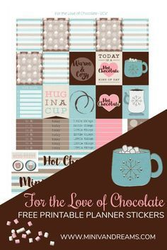 Warm up with our Free Printable Planner Stickers - For the Love of Chocolate! Grab a mug of hot chocolate and get to decorating your planner. To Do Planner, Free Planner, Planner Pages, Happy Planner, Planner Diy, Printable Planner Stickers, Printable Calendars, Journal Stickers, Journal Cards