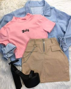 13 cool back to school outfits ideas for the flawless look 2 Cute Comfy Outfits, Edgy Outfits, Retro Outfits, Mode Outfits, Simple Outfits, Girls Fashion Clothes, Teen Fashion Outfits, Look Fashion, Outfits For Teens