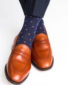 Dapper Classics Dress Navy with Orange Polka-Dot Mid-Calf Linked Toe Fine Merino Wool Sock.  #menshoes