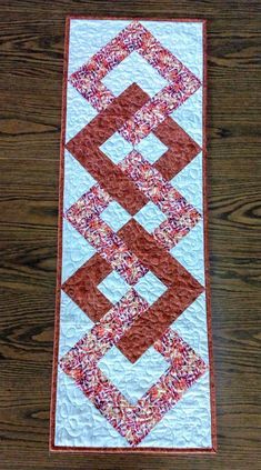 Quilted Table Runner, Rust Colored Table Runner, Housewarming Gift, Table T . Patchwork Table Runner, Table Runner And Placemats, Table Runner Pattern, Fall Table Runner, Quilted Table Runners Christmas, Quilt Block Patterns, Quilt Blocks, Lap Quilts, Quilting Room