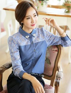 Korean Women`s Fashion Shopping Mall, Styleonme. Button Up Shirt Womens, Cute Korean Fashion, Blouse Batik, Simple Formal Dresses, Sewing Lace, Formal Wear Women, Dressy Tops, Beautiful Blouses, Preppy Style