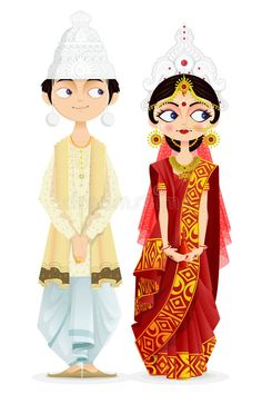 Illustration about Easy to edit vector illustration of Bengali wedding couple. Illustration of ceremony, bengali, element - 30667901 Bengali Wedding, Bengali Bride, Indian Wedding Couple, Indian Wedding Ceremony, Indian Wedding Cards, Indian Wedding Invitations, Wedding Art, Wedding Couples, Trendy Wedding