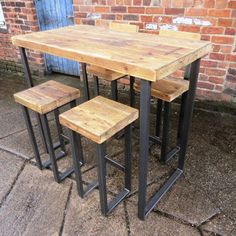 Reclaimed Industrial 4 Seater Chic Tall Poseur Table ONLY. Wood & Metal Desk/Dining Table Bar cafe Restaurant Steel Hand Made Bespoke 069 Wood And Metal Desk, Metal Desks, Wood Steel, Metal Bar, Table Bar, Pub Table Sets, Tall Dining Table, Wooden Bar Table, Cafe Restaurant