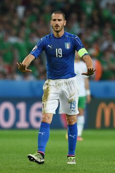 Leonardo Bonucci of Italy gestures during the UEFA EURO 2016 Group E match between Italy and Republic of Ireland at Stade Pierre-Mauroy on June 22, 2016 in Lille, France.