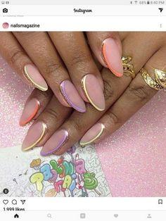 Summer nail design ideas for 2019 00062 - Nails - Nageldesign Hot Nails, Pink Nails, Hair And Nails, Trendy Nail Art, Stylish Nails, French Nails, Nagel Hacks, Nagel Gel, Super Nails