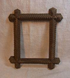 Antique German Carved Wood Tramp Art Picture Frame #K2
