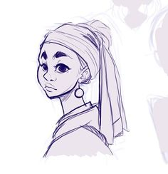 Stylized sketch of the girl with the pearl earring  #art #artist #artistoninstagram #sketch #drawing #digitalart