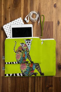 Sharon Turner Lemur Love Lime Pouch | DENY Designs Home Accessories