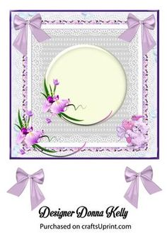 Multi use insert lilac on Craftsuprint designed by Donna Kelly - This pretty insert is approx 7x7, it can be used for any occasion.The lace border is delicate and feminine. - Now available for download!
