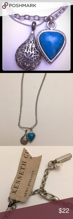 Triple Sterling Chains K.Cole Turq. Silver Pendant Triple Sterling Chains Kenneth Cole Semi Precious Turquoise Stone and Silver Pendant Kenneth Cole Jewelry Necklaces