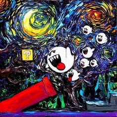 """Mario Art PRINT - Starry Night Ghost - Video Game Art - van Gogh Never Saw Ghosts - Art by Aja 8x8, 10x10, 12x12, 20x20, 24x24 inches choose size. Thank you for your interest in my art - ***Please read entire description of item.*** This is a print - it not NOT a painting. It is not on canvas. It is not framed. I do offer canvas options, please see other listings. This stunning print of my original painting entitled """"van Gogh Never Saw Ghosts"""" utilizes all silver traditional photo..."""