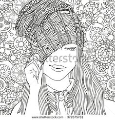 Girl in a knitted cap. Pattern for coloring book. Winter snowflakes. Sketch. Warm clothes. Hand-drawn vector illustration. Zentangle patterns.