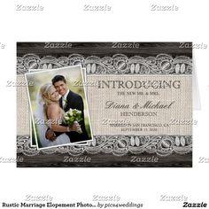 Rustic Marriage Elopement Photo Announcements