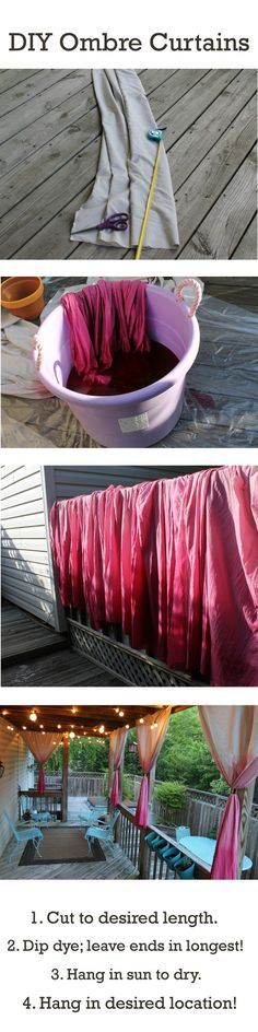 Cheap Easy curtains for sunroom: DIY Ombre curtains. Black maybe? For outdoor p… Cheap Easy curtains for sunroom: DIY Ombre curtains. Black maybe? For outdoor p… – Decorating – Diy Ombre, Diy Projects To Try, Home Projects, Crafty Projects, Sewing Projects, Ombre Curtains, Diy Curtains, Outdoor Curtains, Balcony Curtains