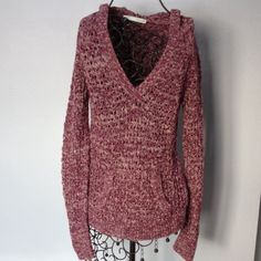 """Maurices Long sleeve hooded top. Crochet look, hooded sweater. Has front hand warmer pocket. Sleeves and the bottom of sweater have ribbed type finish. Gently worn. Length is 25 1/2"""". Hem width is 32"""". Across front at arm pit is 15 1/2"""". Maurices Sweaters V-Necks"""