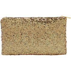 Gold Zipper Sequined Clutch Bag (8.33 BAM) via Polyvore featuring bags, handbags, clutches, zipper handbags, beige clutches, beige purse, gold clutches i zipper purse