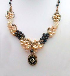 Romantic Victorian Pearl Necklace Cluster by CherylParrottJewelry, $249.95