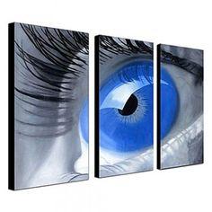 [€ 142.17] peints à la main peinture à l'huile personnes œil bleu set de 3 avec cadre étiré 1307-pe0258
