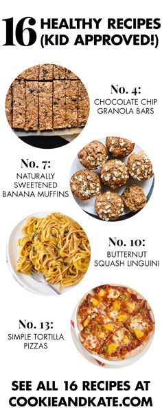 16 healthy recipes for kids, from snacks to dinner to dessert! See them all at cookieandkate.com